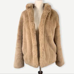 MAGASCHONI Sz M Brown Faux Fur Coat Or Jacket Teddy Bear Soft Medium
